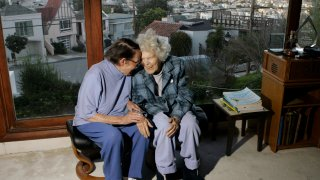 FILE - In this March 3, 2008, file photo, Phyllis Lyon, left, and Del Martin are photographed at home in San Francisco. The hilltop cottage of the couple that became the first same-sex partners to legally marry in San Francisco has become a city landmark. The San Francisco Board of Supervisors voted unanimously Tuesday, May 4, 2021, to give the 651 Duncan St. home of the lesbian activists landmark status. The home in the Noe Valley neighborhood is expected to become the first lesbian landmark in the western United States, the San Francisco Chronicle reported.
