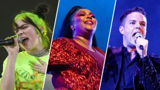 Photos of Billie Eilish (left), Lizzo (middle), Brandon Flowers from The Killers (right)