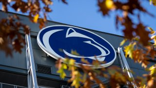 A general view of the Nittany Lion logo on the outside of Beaver Stadium