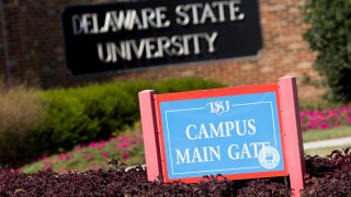 The main gate of the Delaware State University campus in Dover, Delawar