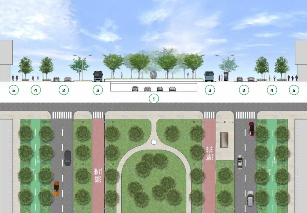 """Cross-section and aerial view of Alternative 1 """"Partially Capped Expressway"""""""