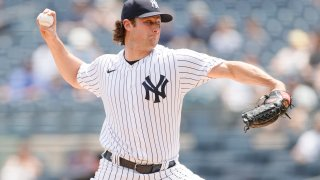 Gerrit Cole pitching against the Chicago White Sox.