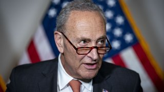 Senate Majority Leader Chuck Schumer, a Democrat from New York, speaks during a news conference following the weekly Senate Democrats policy luncheon on Capitol Hill in Washington, D.C., U.S., on Tuesday, June 8, 2021. Democratic congressional leaders face a narrowing path to move forward on President Joe Biden's $4 trillion economic agenda without Republican support as negotiations with the GOP are at risk of stalling.
