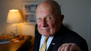 Famed trial lawyer F. Lee Bailey poses in his office in Yarmouth, Maine., on June 29, 2016.
