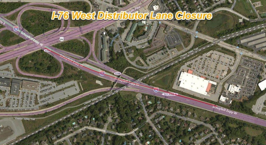 Map of I-76 lane closure