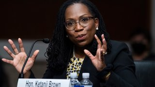 FILE - Ketanji Brown Jackson, nominated to be a U.S. Circuit Judge for the District of Columbia Circuit, testifies before a Senate Judiciary Committee hearing on pending judicial nominations, April 28, 2021, on Capitol Hill in Washington.