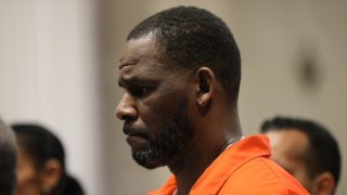 R&B Rapper R. Kelly standing in a courtroom.