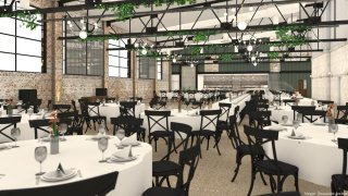 This rendering shows chairs and table set up at an indoor events space