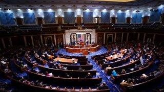 speaker of the House Nancy Pelosi speaks in the House Chamber