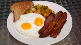a bacon and eggs breakfast