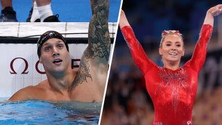 Left: Caeleb Dressel of Team United States celebrates winning the gold medal in the Men's 100m Butterfly Final at Tokyo Aquatics Centre on July 31, 2021, in Tokyo, Japan. Right: Mykayla Skinner of Team United States reacts after competing on balance beam