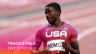 Trayvon Bromell of United States competes in the heats of the Men's 100m on day eight of the Tokyo 2020 Olympic Games