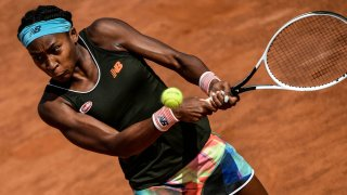 Coco Gauff competes at the Italian Open in Rome