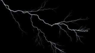 Lightning strike on black background