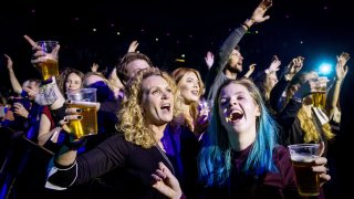 Visitors to the Ziggo Dome attend a performance by Dutch singer Andre Hazes