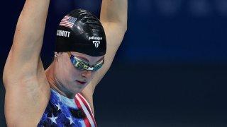Allison Schmitt stretches