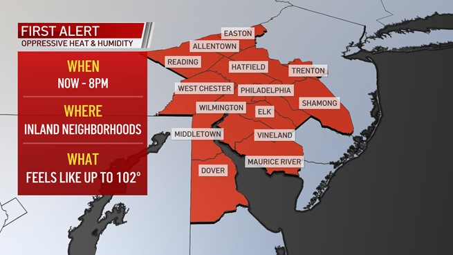 Map showing that much of the Philadelphia region is under a First Alert for heat on July 7, 2021.