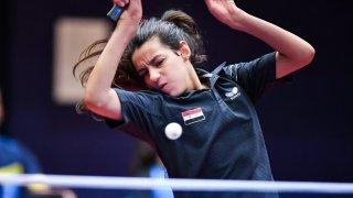 Syria's Hend Zaza playing table tennis