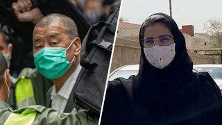 Left: Jimmy Lai, Apple Daily founder, arrives at the Court of Final Appeal in Hong Kong. Right: Saudi activist Loujain al-Hathloul is pictured on her way to the state security court in the Saudi capital Riyadh