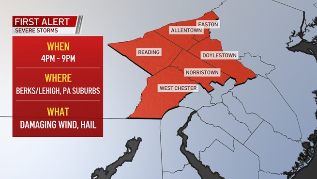 A map showing the Philadelphia suburbs and Lehigh Valley under a First Alert for strong storms on July 7, 2021