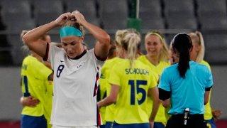 Julie Ertz of the U.S. women lost 3-0 to Sweden