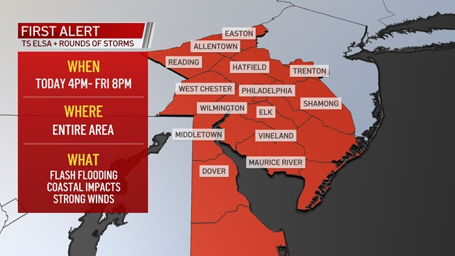 Map showing area for First Alert for flooding rain from Elsa, other storms