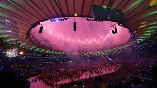 Fireworks at an Olympic Opening Ceremony