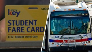 """Left: A yellow card reading """"Student fare card."""" Right: A SEPTA bus."""