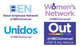 Logos for the Black Employees Network, the Women's Network, Out and Unidos at NBC Universal