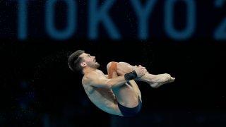 Brandon Loschiavo of Team United States competes in Men's Diving 10-Meter Platform semifinal at the Tokyo Aquatics Centre at the 2020 Olympics, Saturday, Aug. 7, 2021, in Tokyo, Japan.