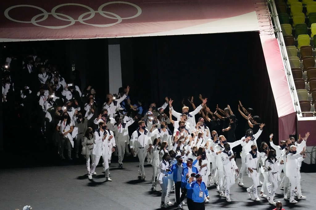 The United States of America athletes walk in during the closing ceremony in the Olympic Stadium at the 2020 Summer Olympics, Sunday, Aug. 8, 2021, in Tokyo, Japan.
