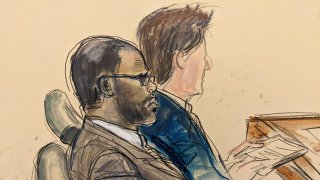 In this courtroom artist's sketch made from a video screen monitor of a Brooklyn courtroom, defendant R. Kelly, left, listens during the opening day of his trial, Wednesday, Aug. 18, 2021 in New York