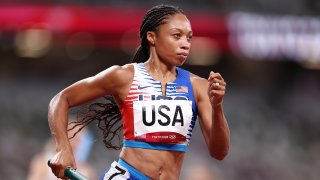 llyson Felix of Team United States competes in the Women' s 4 x 400m Relay Final on day fifteen of the Tokyo 2020 Olympic Games