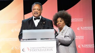 WASHINGTON, DC - SEPTEMBER 15: (L-R) Jesse Jackson and his wife Jacqueline Brown attend the Phoenix Dinner for the 48th Annual Congressional Black Caucus Foundation on September 15, 2018 in Washington, DC.