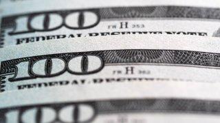 Closeup on $100 bills