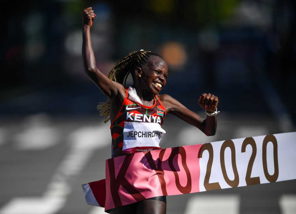 Peres Jepchirchir of Kenya crosses the finish line to win the Women's Marathon at Sapporo Odori Park on day 15 during the 2020 Tokyo Olympic Games in Sapporo, Japan.