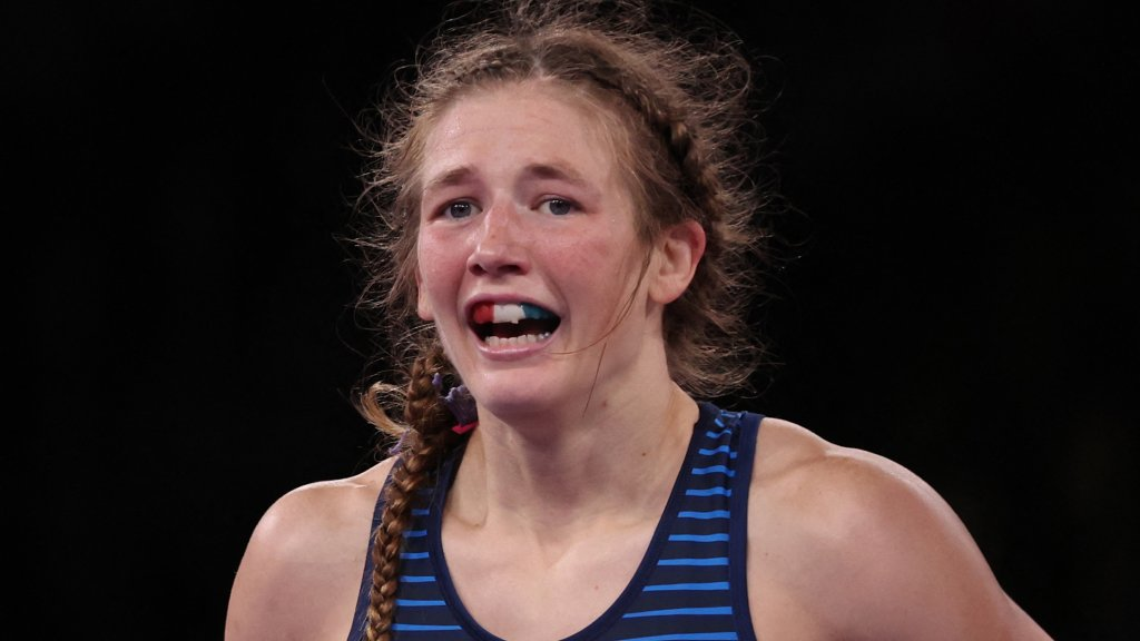 Team USA's Sarah Hildebrandt reacts after defeating Ukraine's Oksana Livach in their women's freestyle 50kg wrestling bronze medal match during the Tokyo Olympic Games at the Makuhari Messe in Tokyo on Aug. 7, 2021.