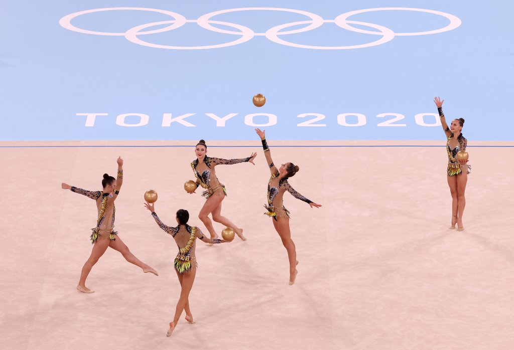 Team United States competes during the Group All-Around Qualification on day 15 of the Tokyo 2020 Olympic Games at Ariake Gymnastics Centre on Aug. 7, 2021, in Tokyo, Japan.