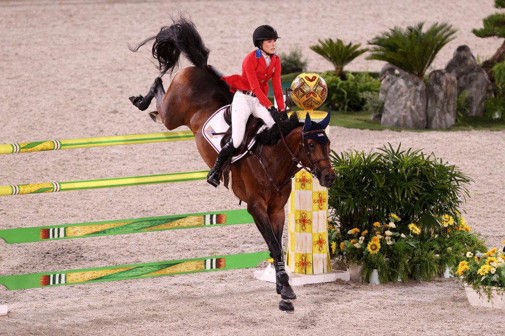Jessica Springsteen of Team United States riding Don Juan Van de Donkhoeve competes in the Jumping Team Final at Equestrian Park on Aug. 7, 2021 in Tokyo, Japan.