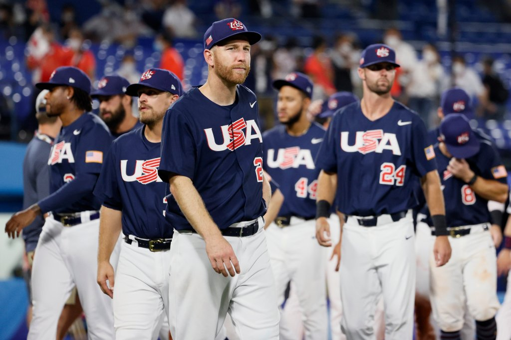 Players of Team Unites States show dejection after their 0-2 defeat  during the gold medal game between Team United States and Team Japan on day fifteen of the Tokyo 2020 Olympic Games at Yokohama Baseball Stadium on Aug. 7, 2021 in Yokohama, Kanagawa, Japan.