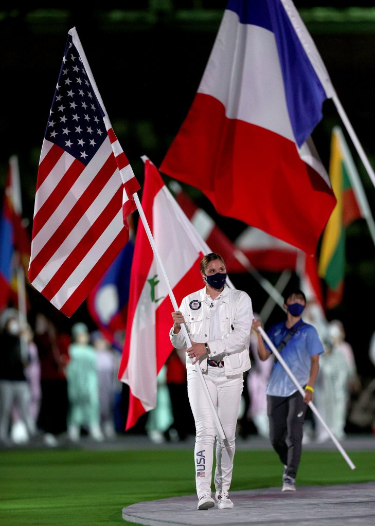 Flagbearer Kara Winger of Team United States during the Closing Ceremony of the Tokyo 2020 Olympic Games at Olympic Stadium on Aug. 8, 2021 in Tokyo, Japan.