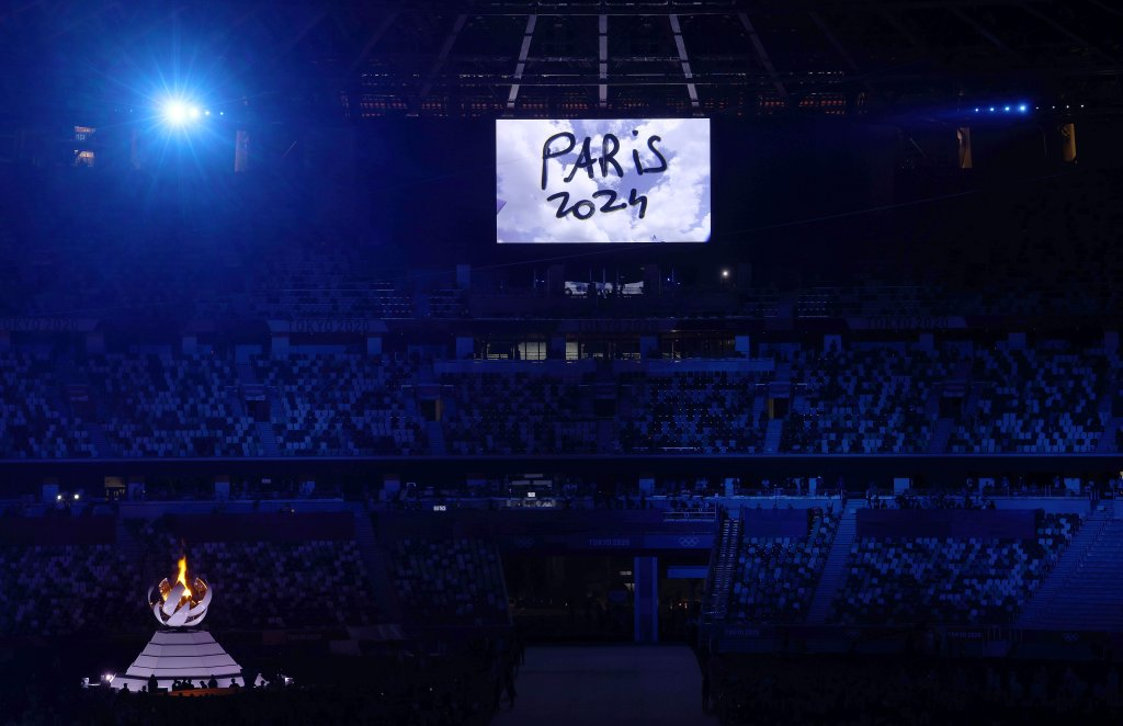 The presentation for Paris 2024 is seen during the Closing Ceremony of the Tokyo 2020 Olympic Games at Olympic Stadium on August 08, 2021 in Tokyo, Japan.