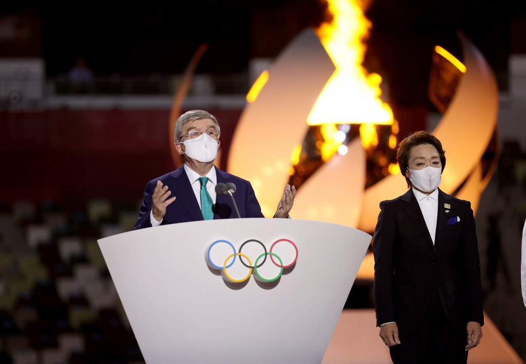 President of the International Olympic Committee Thomas Bach declares the end of the 32nd Olympiad during the Closing Ceremony of the Tokyo 2020 Olympic Games at Olympic Stadium on Aug. 8, 2021 in Tokyo, Japan.