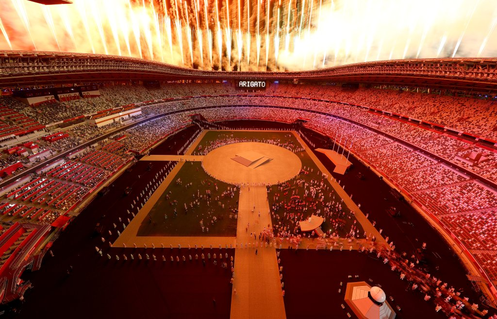 Fireworks erupt above the stadium during the Closing Ceremony of the Tokyo 2020 Olympic Games at Olympic Stadium on Aug. 8, 2021 in Tokyo, Japan.