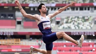 Greece's Miltiadis Tentoglou competes in the men's long jump final during the Tokyo 2020 Olympic Games