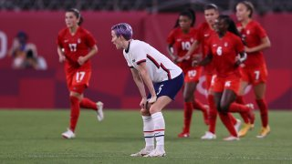 Megan Rapinoe looks dejected after Canada takes a lead lead on Team USA