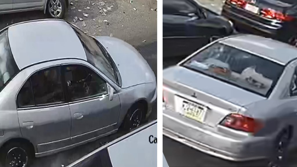 A split photo shows the front passenger side of a silver Mitsubishi on the left, and the rear side of the same vehicle on the right.