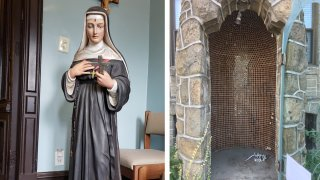 Left: A statue of Saint Rita of Cascia depicts her holding a cross while wearing a black tunic. Right: An empty grotto where the statue was housed before being briefly stolen.