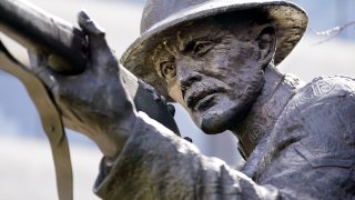 The statue of World War I hero Sgt. Alvin C. York stands on the grounds of the Tennessee State Capitol in Nashville, Tenn., March 16, 2021.