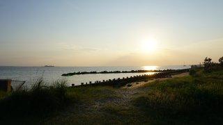 Sunset over Sandy Hook beach, Middletown, New Jersey, USA